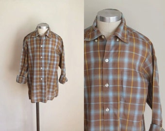 vintage boy's plaid shirt - DESERT SAND brown button down / 12/14yr