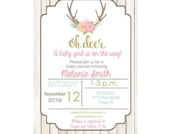 Deer Baby shower invitation, oh deer baby shower, baby girl, shower invitation, girl, its a girl, custom and printable