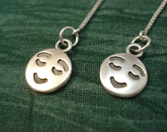 Smiling Face Charms on Sterling Ear Threads-Threader Earrings-Necklace-FREE SHIPPING To U.S.-