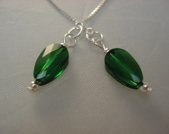 Small Emerald Swarovski Crystals on Sterling Ear Threads- Threader Earrings-Necklace-FREE SHIPPING To U.S.-