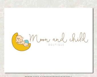 Premade Logo - Boutique diseño de Logo - logotipo de la luna - bebé Logo - logotipo lindo - Doula Logo - Logo de los niños - niños Logo - bebé diseño