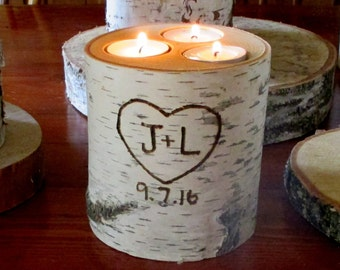 Wedding Birch Bark Candle Holder Personalized  Rustic Wedding Centerpieces Wedding Date Cottage Chic Bridal Shower Decor Garden Party