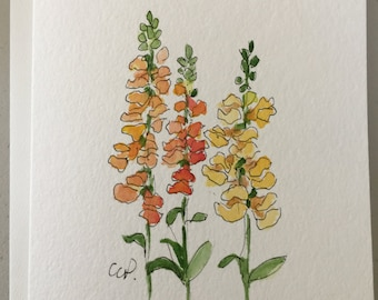 Yellow Snapdragons Watercolor Card / Hand Painted Watercolor Card