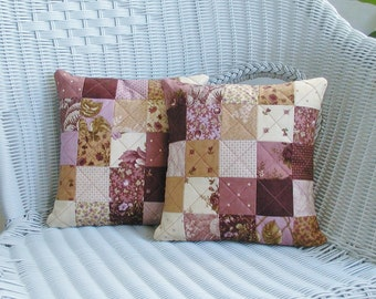 Sugar Plum Quilted Pillow Covers with pillow inserts