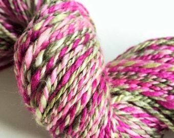 "Handspun Yarn -- ""Ribbon Candy"" -- merino / silk -- 206 yards DK weight"