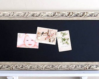 Kitchen CHALKBOARD Home Decor Narrow Rectangle Ivory White Bulletin Board Organizer Mud Room Magnetic Chalk Board Old World Farmhouse Decor