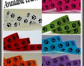 5 Yards PAW PRINT 3/8 Grosgrain Ribbon