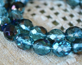 33pcs Fire-Polished Teal Blue Iris 12mm Bead Czech Glass Faceted Round
