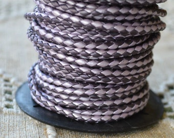 1 meter of 3mm Chandni Berry Purple Braided Bolo Leather Cord