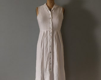 vintage white linen maxi dress | pin tucked button down dress