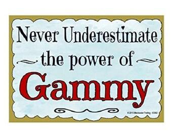 "Never Underestimate the Power of Gammy Grandmother Fridge Refrigerator Magnet 3.5""X2.5"""