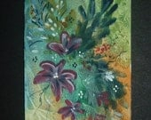 floral flower original aceo art painting. ref 234