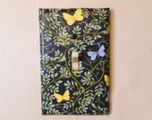 Blue and Yellow Butterflies Fabric Covered Single Light Switch Plate