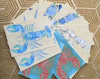 Pack of Twelve Maine Postcards: Lobster and Seashells