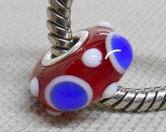 Red, White, and BlueLampwork Bead, Silver Cored Large Hole Handmade Lampwork Bead