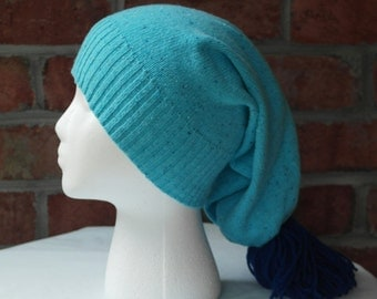 Turquoise Blue Knit Slouchy Hat