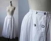 SALE 50% OFF Vintage Full White Cotton Voile Skirt Midi Length Shell Buttons High Waist Classic S