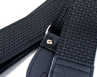 Black Volkswagen Guitar Strap, Made of VW Bus Basketweave Upholstery Vinyl