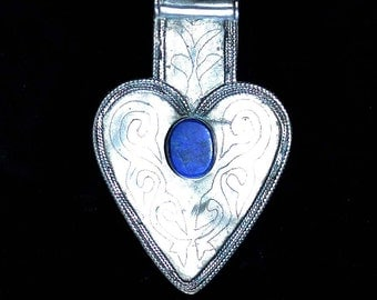 Old Turkoman Asyk, Silver with Lapis Heart Shaped pendant or Braid Weight