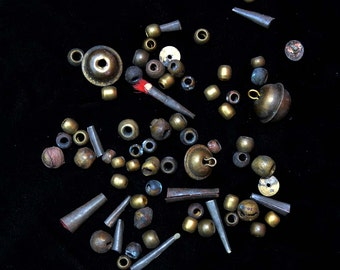 Collection Of Old Brass Beads From The Himalaya
