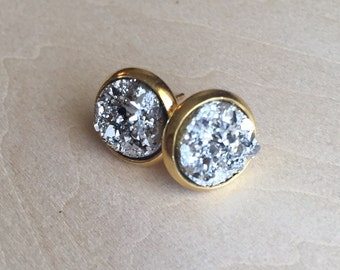 Sparkly stud earrings, 8mm faux druzy
