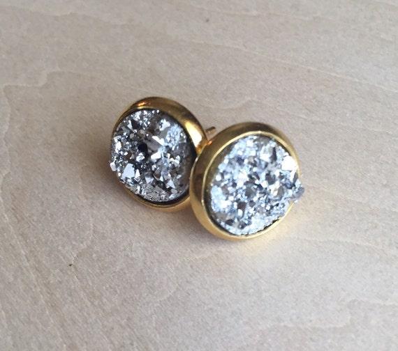sparkly stud earrings 8mm faux druzy