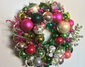 Pink and Green Sparkles - Handmade Vintage Ornament Ball Christmas Wreath Free shipping in Continental U.S.