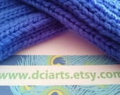Beautiful Blue Handknit wristers fingerless mitts or gloves knit from pure Australian wool