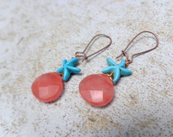 Pink quartz seastar turquoise nautical earrings