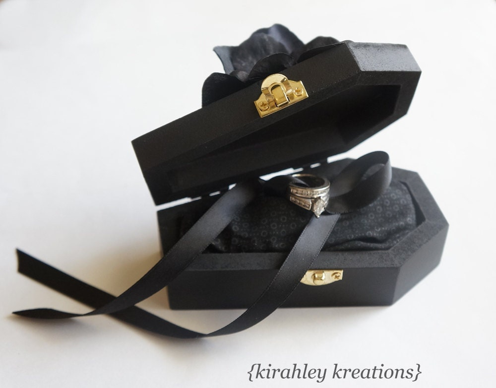 Wood Coffin Ring Bearer Box Wedding Ceremony Ring Pillow Til