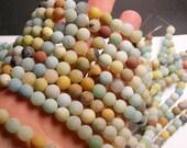 Amazonite - 8mm round beads -1 full strand - matte - 48 beads - RFG208