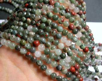 African bloodstone  - 6mm round beads - 1 full strand - 63 beads - Seftonite - RFG9A