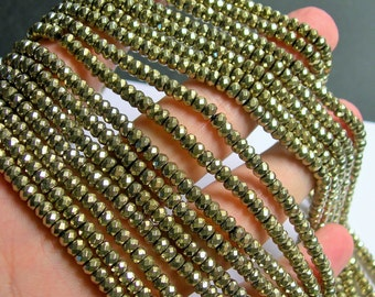 Hematite gold - 3x4mm faceted rondelle beads - full strand - 145 beads - A quality - PHG204