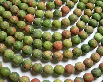Unakite - 8 mm round beads - Matte - 1 full strand - 48 beads - AA quality - matte unakite - RFG855