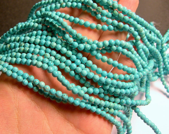 Howlite turquoise - 4mm round beads -1 full strand - 98 beads - A Quality - RFG597