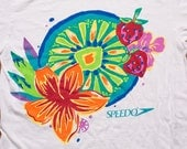 Speedo T-Shirt, Tropical Flowers & Fruit, Graphic Tee, Vintage 1990s