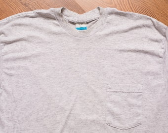 Fieldmaster Pocket T-Shirt, L, Heather Gray Tee, Thin 50/50, Vintage 80s
