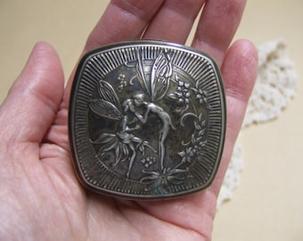 Vintage 1920s Djer-Kiss Compact - Silver Plated - Patent Date 5-19-25 Inside Case - Boy Girl Fairies Motif on Front - Double Mirror Inside