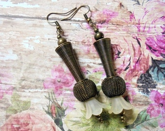 Long Brass and Ivory Flower Earrings (2840)
