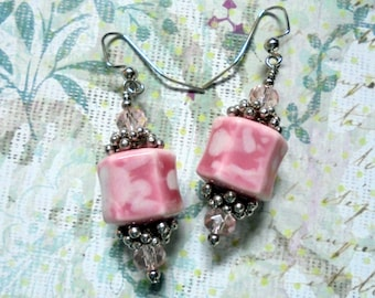 Pink and Silver Earrings (2439)