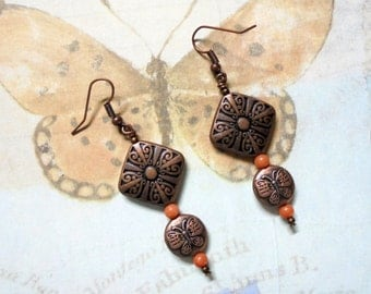 Copper and Coral Butterfly Earrings (2560)