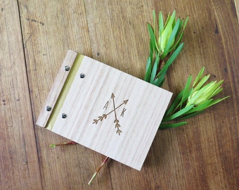 Guest Book Wedding. Custom Wood Guestbook. Photo Album. Engagement Gift : crossed arrows