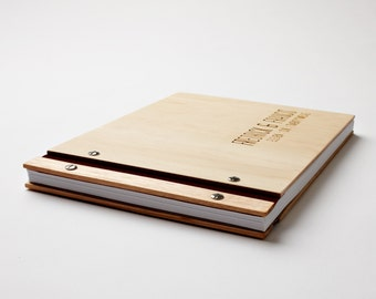 Wood Wedding Guest Book | Engagement Gift | Anniversary | Wedding Guestbook | Album