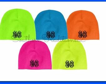 Monogram Beanie - Monogram Winter Hat - Monogram Neon Blue Pink Green Orange Yellow Beanie Hat