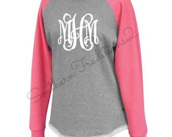 Monogrammed Raglan Sweatshirt Tunic - Monogram Sweatshirt  - Monogram Ladies Raglan - Monogram Raglan Hi-Lo Fleece Tshirt