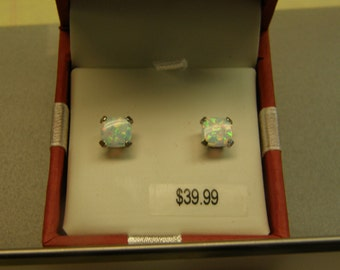 Very Pretty Opal Sterling Silver Stud Earrings - New - Gift Boxed