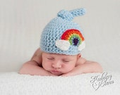 Newborn Rainbow Hat/ Rainbow Baby Hat/ Top Knot Beanie/ Crochet Rainbow Hat/ Newborn Boy Hat/ Newborn Girl Hat
