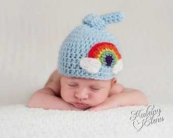 Newborn Rainbow Hat/ Rainbow Baby Hat/ Top Knot Beanie/ Crochet Rainbow Hat/ Newborn Boy Hat/ Newborn Girl Hat