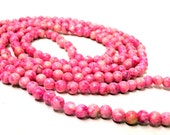 """Pink Lace Agate Seed Beads 4mm Round 1 Full 34"""" Strand Over 200 Unique Beads"""