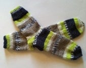Hand Knit Soft And Warm Men's Alpaca Striped Socks, Size 12   (11.25 inches length) - Warm Striped Socks